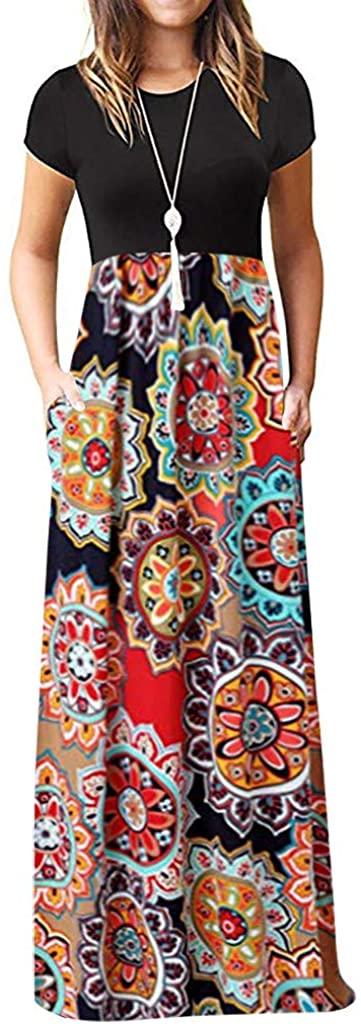 Eaktool Floral Dresses for Women,Women's Casual Sleeve O-Neck Print Maxi Tank Long Dress