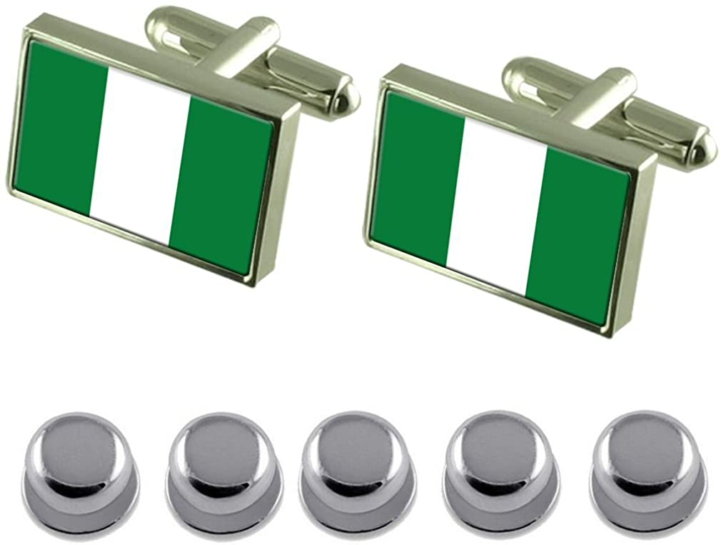 Select Gifts Shirt Dress Studs Nigeria Flag Cufflinks