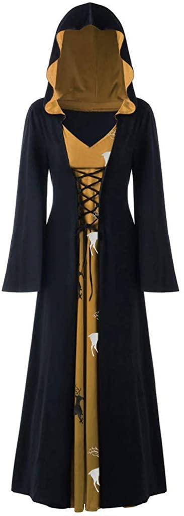 Benficial Womens Novelty Coat Dresses Plus Size Halloween Hooded Lace Up Patchwork Long Sleeve Long Dress