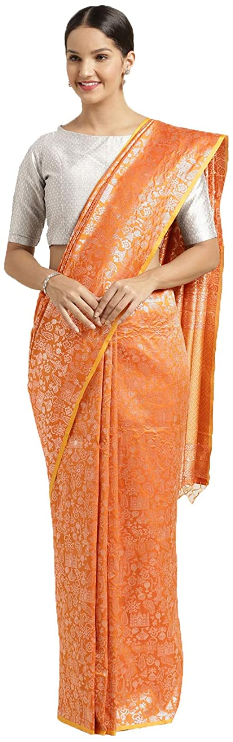 Saree for Women Bollywood Wedding Designer Gold Sari with Unstitched Blouse. ICW2527-9
