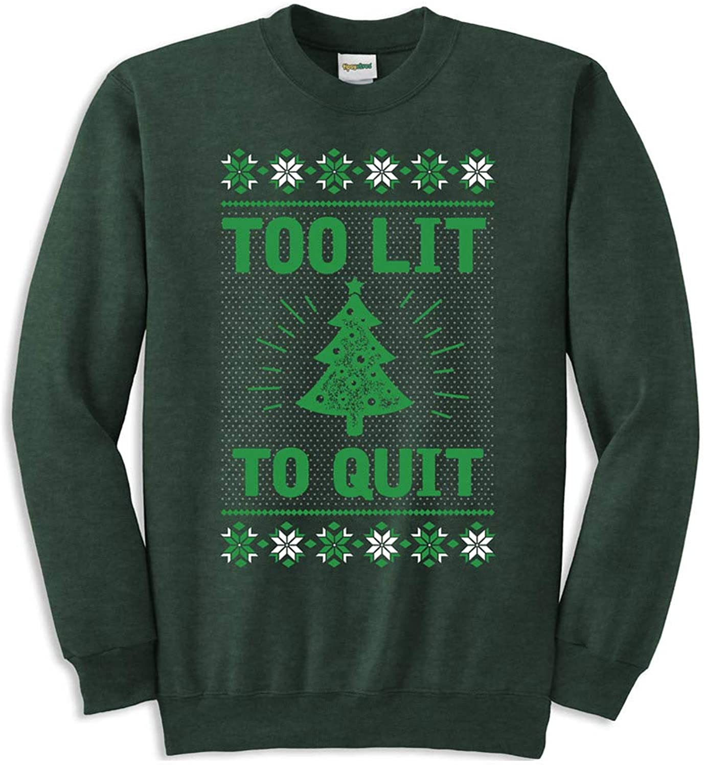 Tipsy Elves Men's Too Lit Ugly Christmas Sweatshirt - Green Funny Ugly Christmas Sweater Male