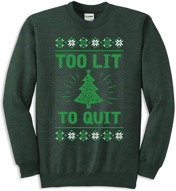 Tipsy Elves Men's Too Lit Ugly Christmas Sweatshirt - Green Funny Ugly Christmas Sweater Male