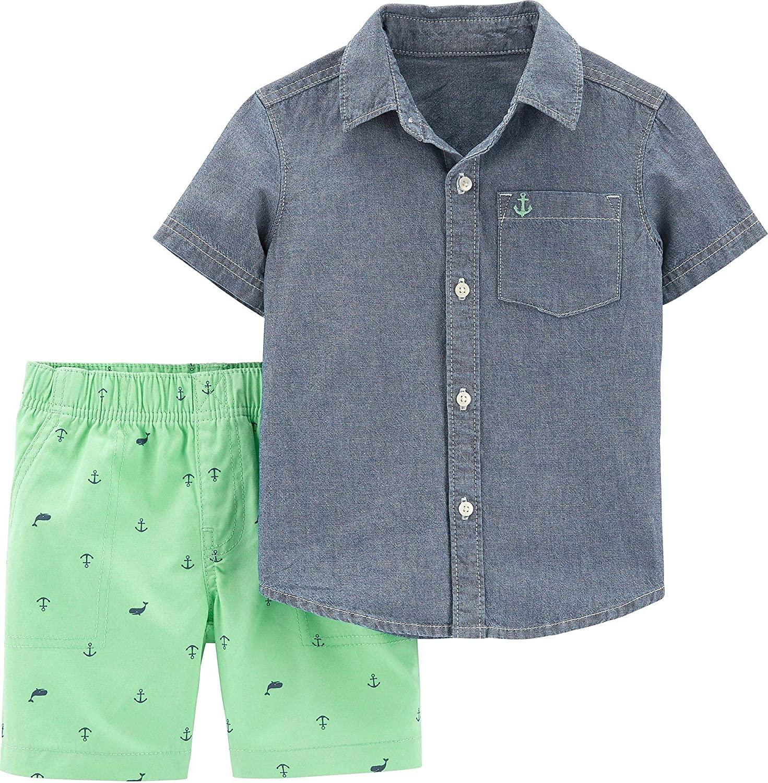 Carter's Baby Boys Nautical Button Down Shorts Set 12 Months Blue/Green