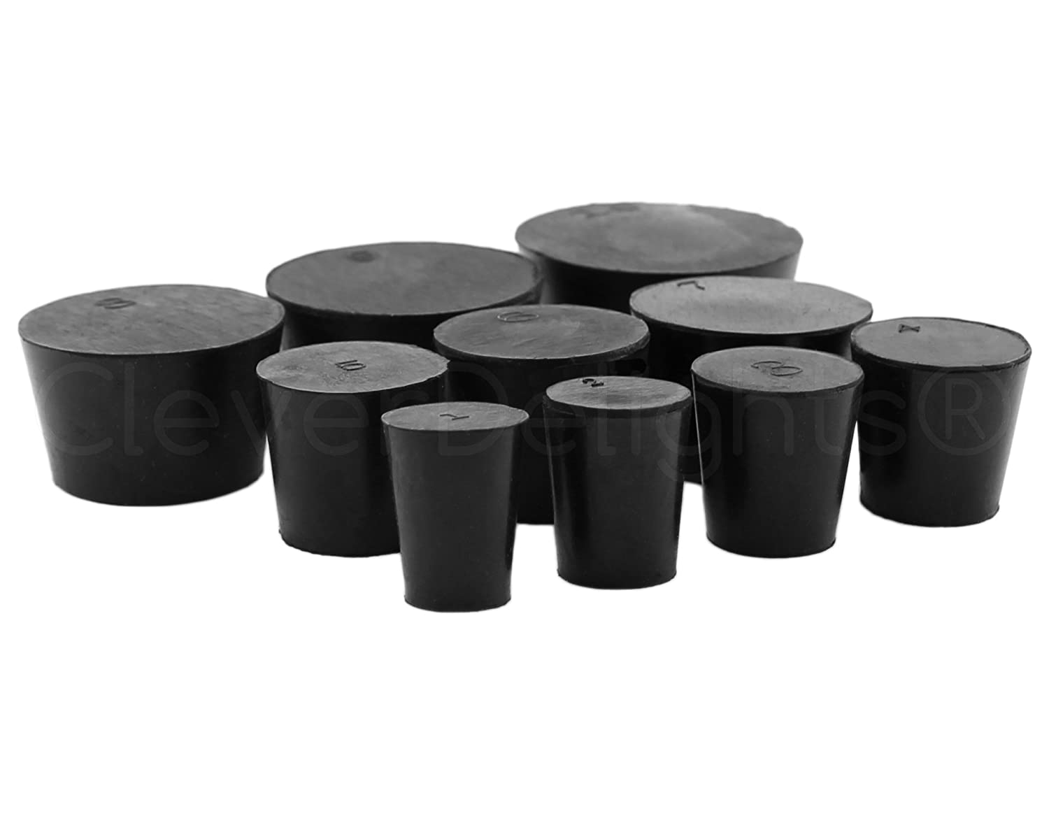 10 Pack - CleverDelights Solid Rubber Stoppers - Mix Pack | Sizes 1 to 10 | 1 Each Per Size