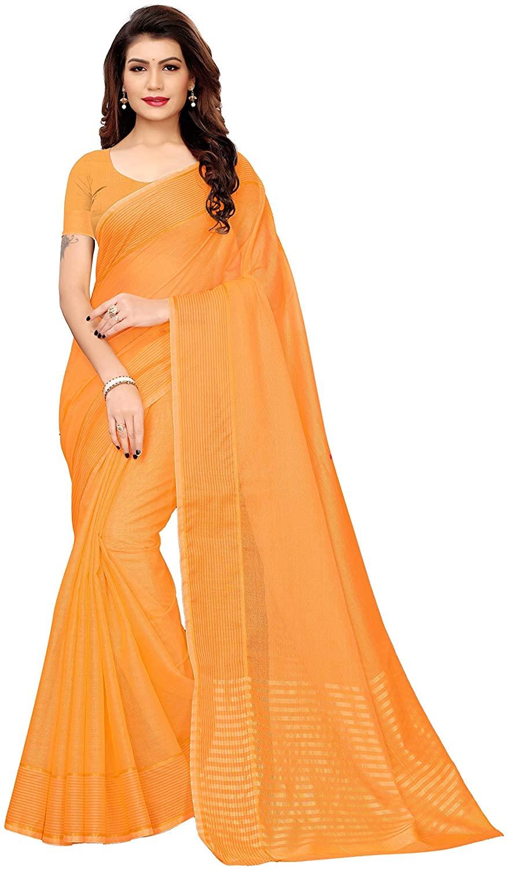 Indian Decor & Attire Art Silk with Blouse Piece Saree (Club-Orange IND Free Size)