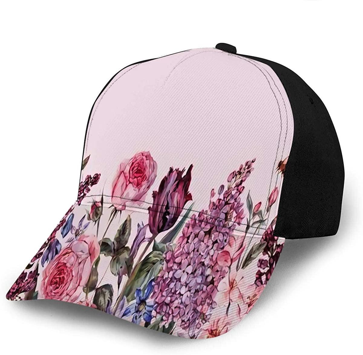 Baseball Caps Hats Vintage Garden Watercolor Purple Floral Spring Border Sun Bea