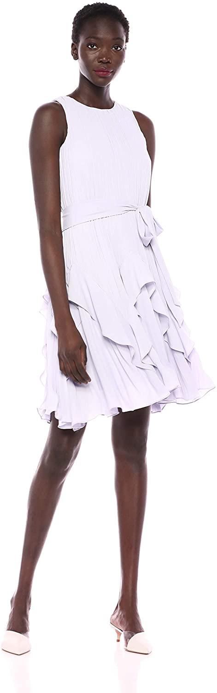 HALSTON Women's Sleeveless High-Neck Pleated Dress with Sash
