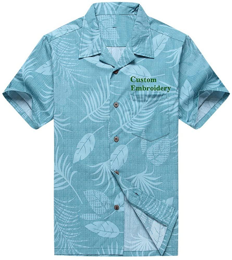 Men's Hawaiian Shirt Aloha Shirt in Aqua Floral Leaf