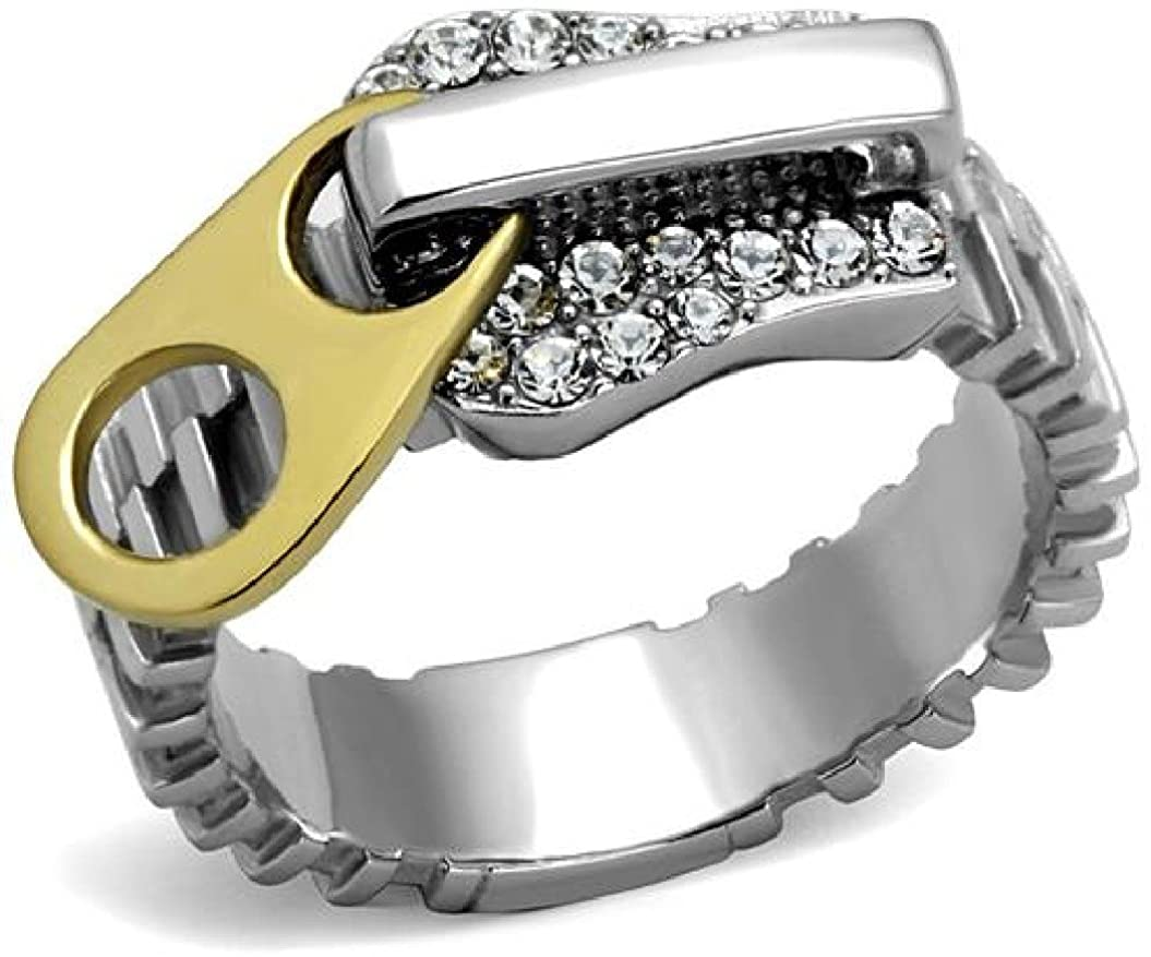 Marshal Imports Stainless Steel IP Two Tone (Gold & Silver) Clear Crystal Buckle Belt Ring, Size 5,6,7,8,9,10