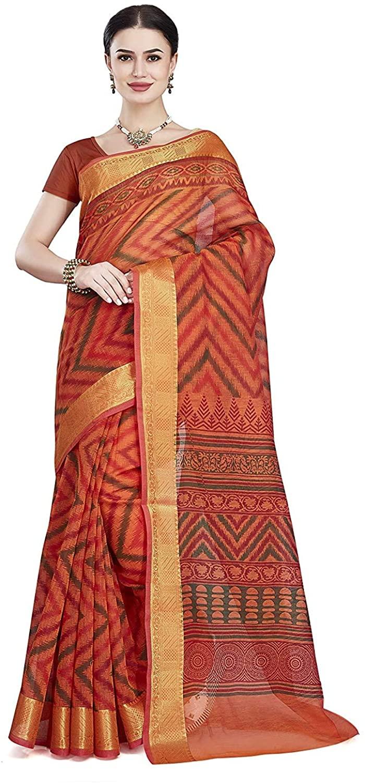 Indian Decor & Attire Women's Poly Cotton Saree with Unstitched Blouse Piece (SKR5165_Orange)