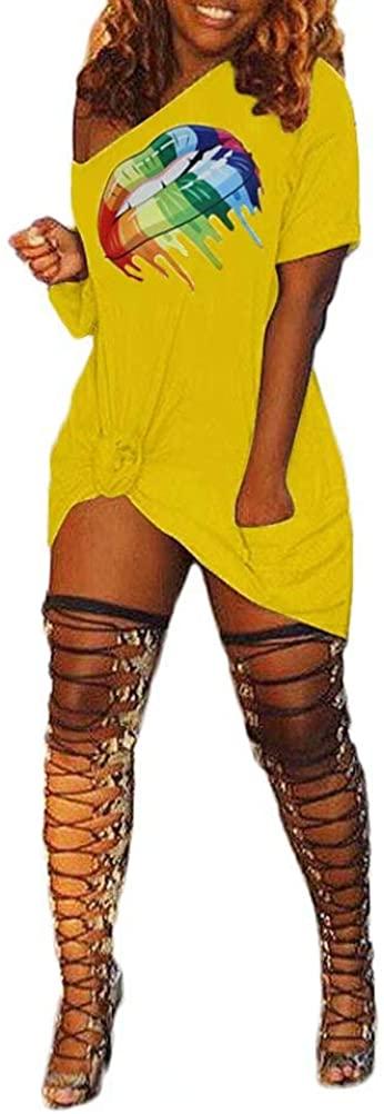 Women's One Piece Midi Dresses Lip Print Short Sleeve Knee Length Dress Party Night Club Yellow#2 XXXL