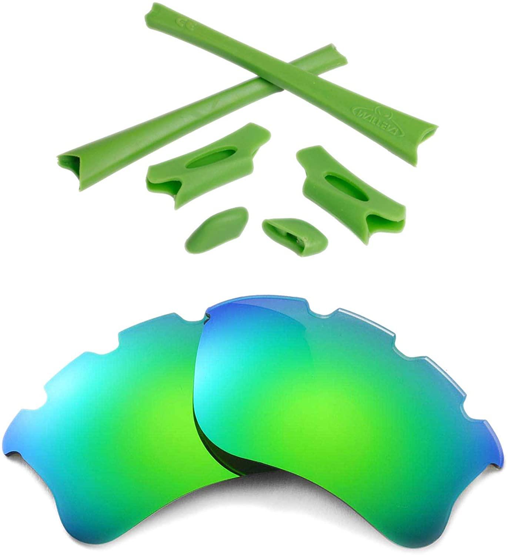 Walleva Polarized Emerald Vented Lenses+Green Rubber Kit For Oakley Flak Jacket XLJ