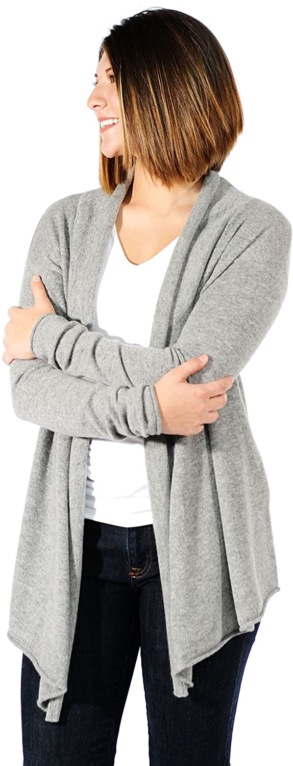 Gigi Reaume Womens Cardigan Sweater, 100% Cashmere, Long Sleeve, Open Front, Shawl Collar, Thigh Length