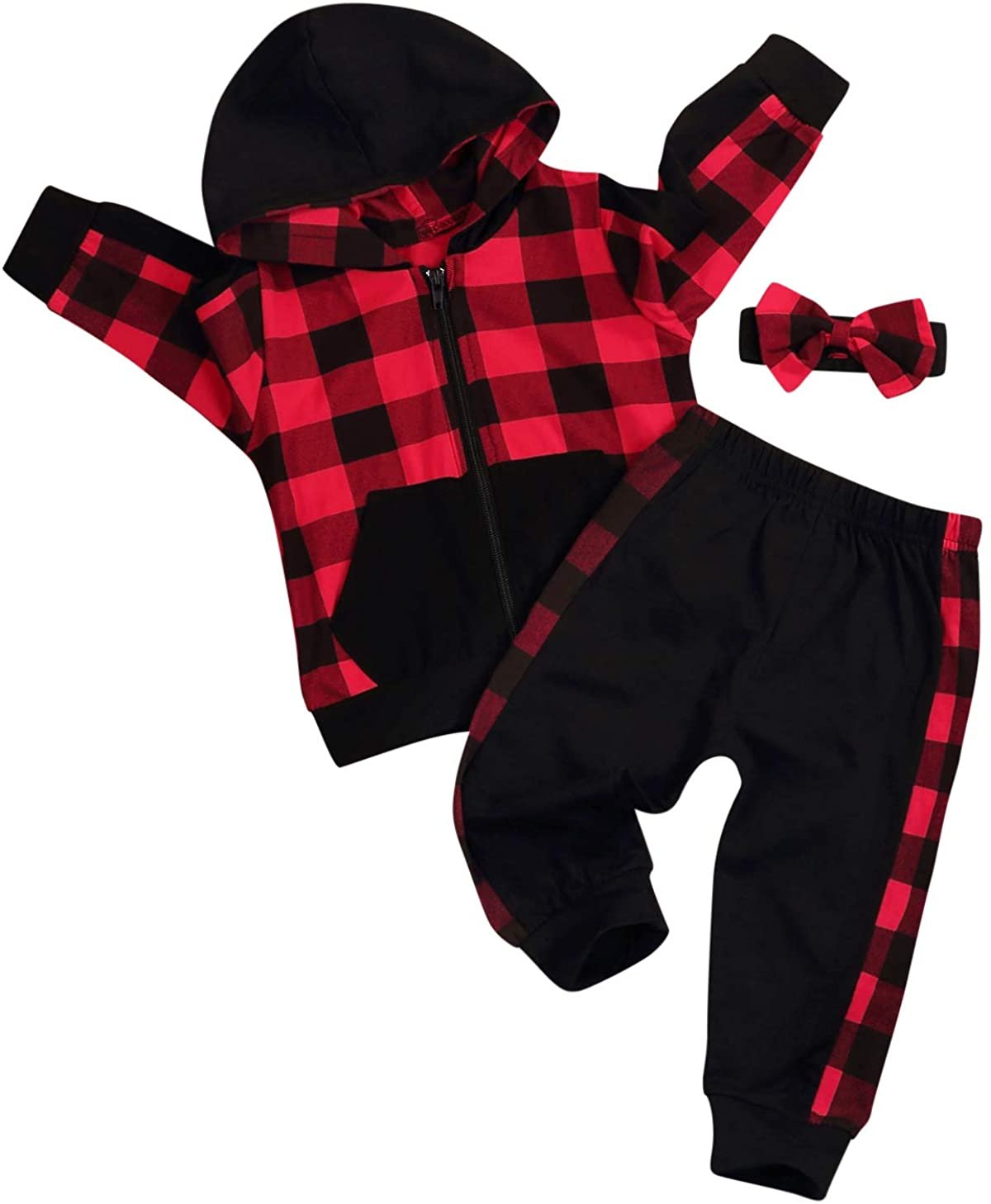 Christmas Outfits Infant Toddler Baby Boy Girls Long Sleeve Red Plaid Hoodie Tops Pants Fall Winter Clothes Sets 2Pcs