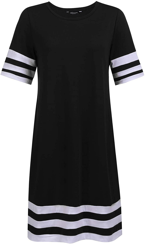 BEAUTYTALK Nightdress Women's Short Sleeve Nightgown O Neck Casual Loose T-Shirt Nightwear S-XL