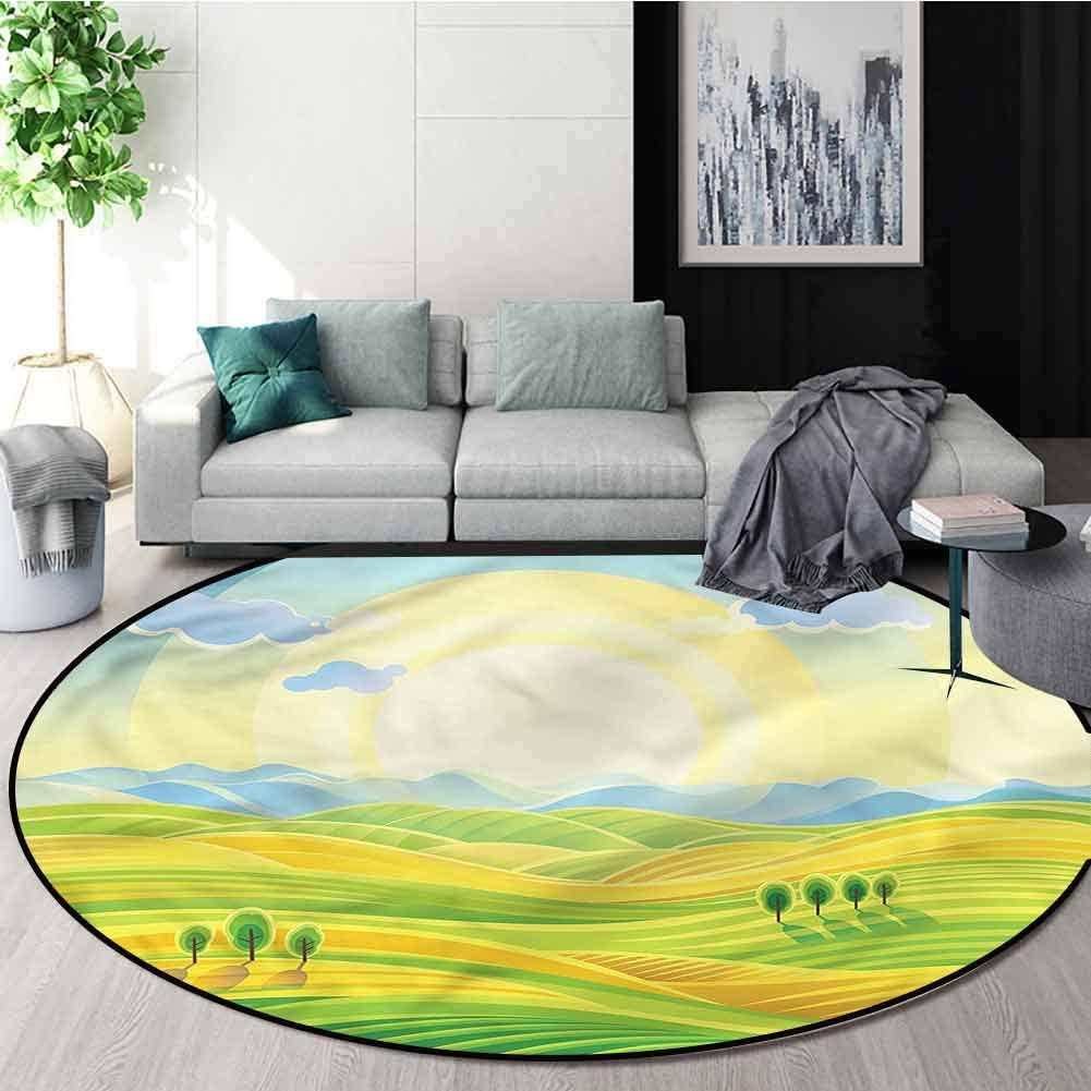 RUGSMAT Country Machine Washable Round Bath Mat,Sunny Rural Scenery Carpet Door Pad for Bedroom/Living Room/Balcony/Kitchen Mat Diameter-59