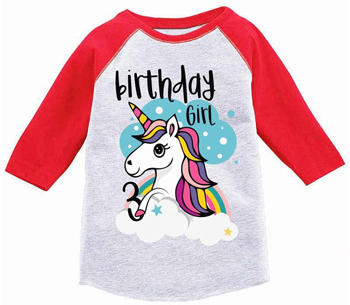 Awkward Styles Birthday Girl Toddler Raglan Unicorn Tshirt 3rd Birthday Party
