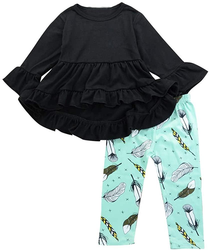 3PCS Toddler Baby Girl Clothes Long Sleeve Ruffle Irregular Top+Feather Print Pants Set Fall Winter Outfits