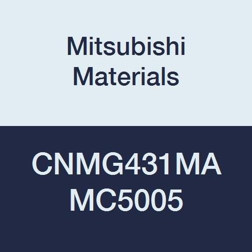 Mitsubishi Materials CNMG431MA MC5005 Coated Carbide CN Type Negative Turning Insert with Hole, Rhombic 80°, Grade MC5005, 0.5