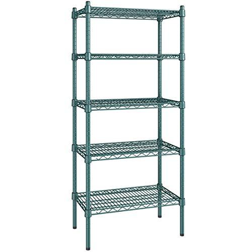 14 inch x 24 inch Green Epoxy 5 Shelf Kit with 54 inch Posts. Storage Shelf. Garage Storage Shelves. Shelving Units and Storage. Food Storage Shelf. Storage Rack. Kitchen Shelves. Bakers Racks