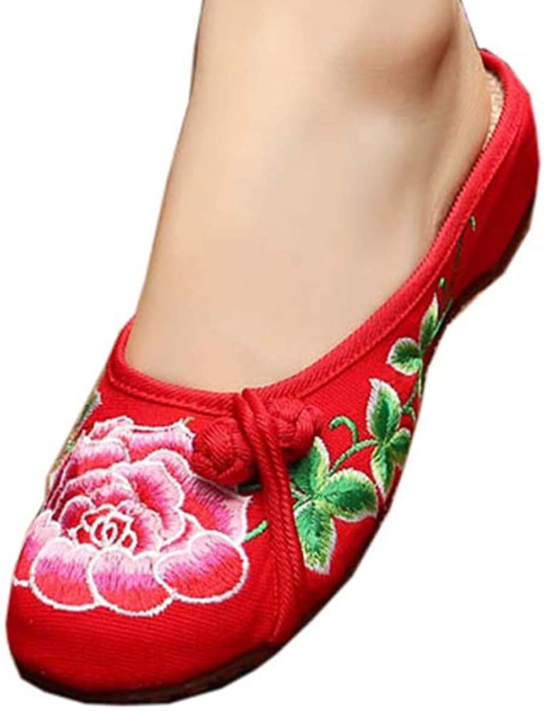 Womens Embroidered Summer Slippers Wedges Sandals Shoes for Cheongsam, 16