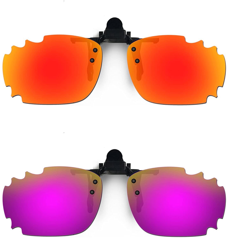HKUCO Reinforce Sunglasses Clip Red/Purple Polarized Lenses for Myopia Frame Clip Polarized Lenses UV400 Protect
