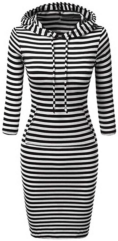 F_Gotal Womens Long Sleeve Drawstring Buttons Kangroo Pocket Sweatshirt Hoodie Dress Pullover Hoody Dress Cocktail