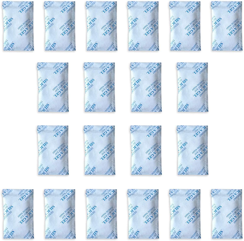 E-Cron 20 x 10 gr Silica Gel Tyvek Packets. Pure, Safe and Reusable Silica Gel Sachets Desiccant. Renewable Dehumidifier Pouches - Absorb Moisture.
