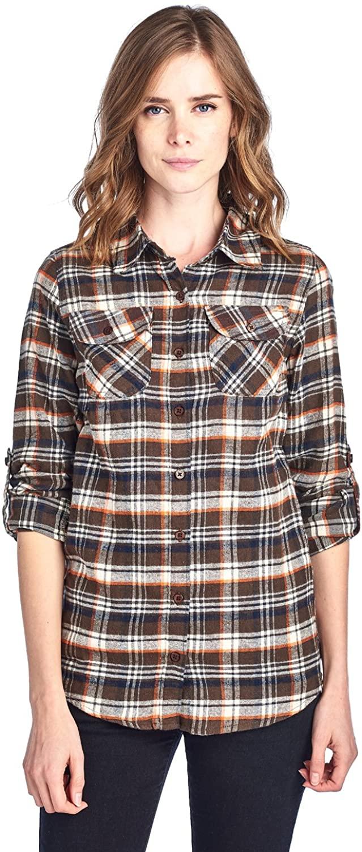 BLUE AGE Womens Casual Long Sleeve Plaid Flannel Shirts