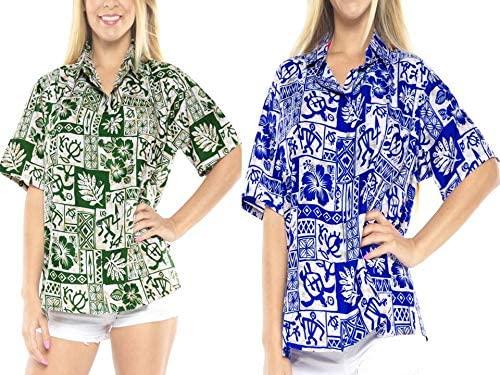 LA LEELA Women's Beach Hawaiian Shirt Button Down Aloha Camp Shirt Work from Home Clothes Women Beach Shirt Blouse Shirt Combo Pack of 2 Size XX - Large