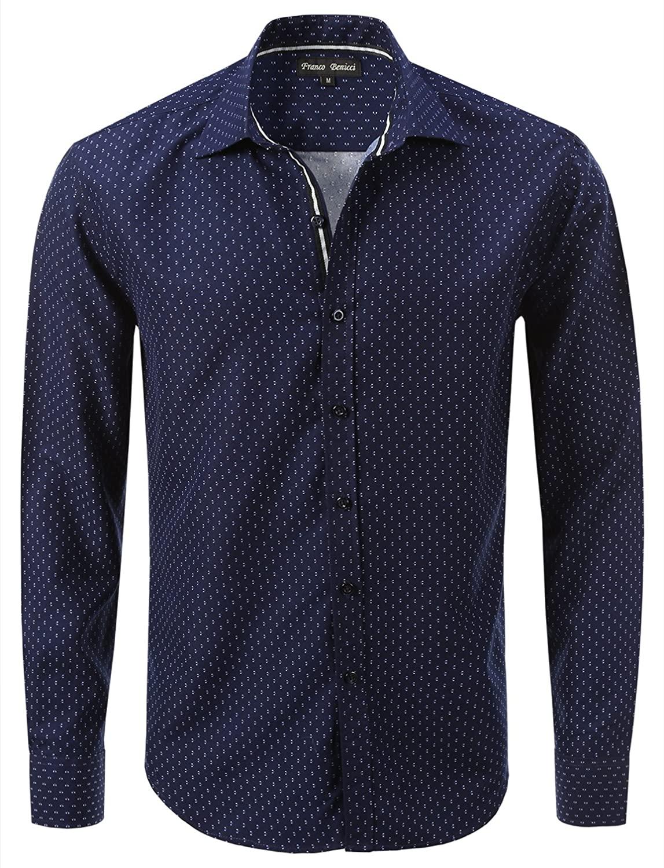 Franco Benicci Men's Spread Collar Patterned Print Long Sleeve Dress Shirt