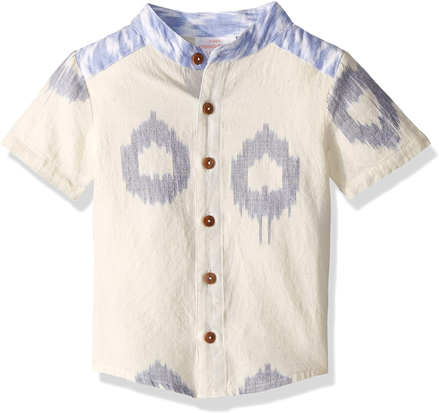 Masala Kids Boys' Little Wilder Shirt Ikat Dots Blue