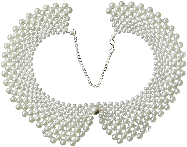 Vpang Women's Stylish Detachable Blouse False Collar Faux Pearls Fake Collar Choker Peter Pan Necklace White
