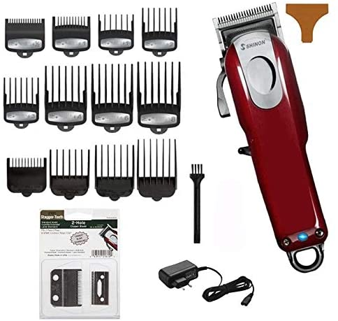 QAES Sharp Hair Clippers, Rechargeable Hair Clippers for Men, Low Noise Electric Hair Trimmer for Adults and Children and Barber Shops Elaborate Haircut (Size : 12 Comb add 1 Blade)