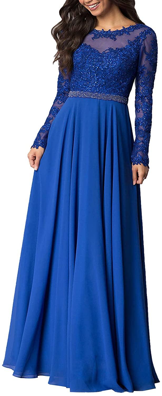 Aox Women Vintage Long Sleeve Floral Chiffon High Waist Party Evening Dress Formal Prom Skirt