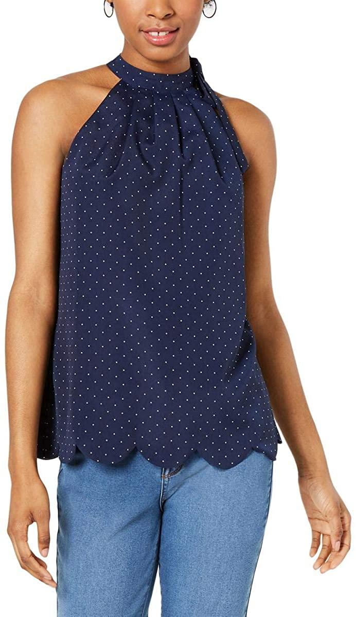 Maison Jules Womens Tie Neck Scalloped Halter Top