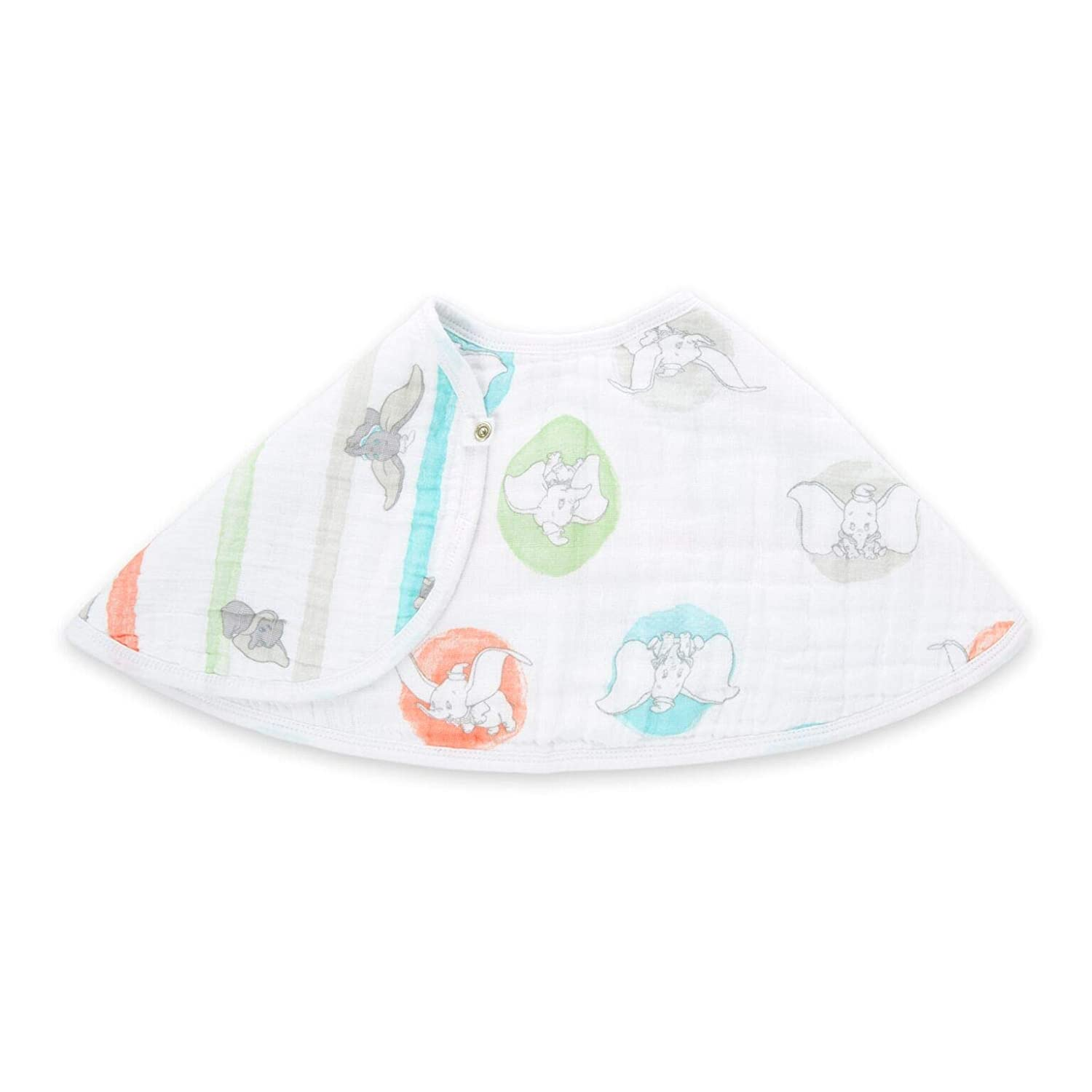 "aden by aden + Anais Disney Burpy Bib, 100% Cotton Muslin, Soft Absorbent 4 Layers, Multi-Use Burp Cloth and Bib, 22.5"" X 11"", Single, Flying Dumbo-dot"