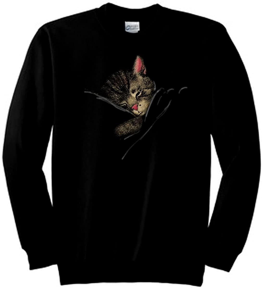 Daylight Sales Nighttime Chessie The Sleeping Kitten Railroad Sweatshirt (Black)
