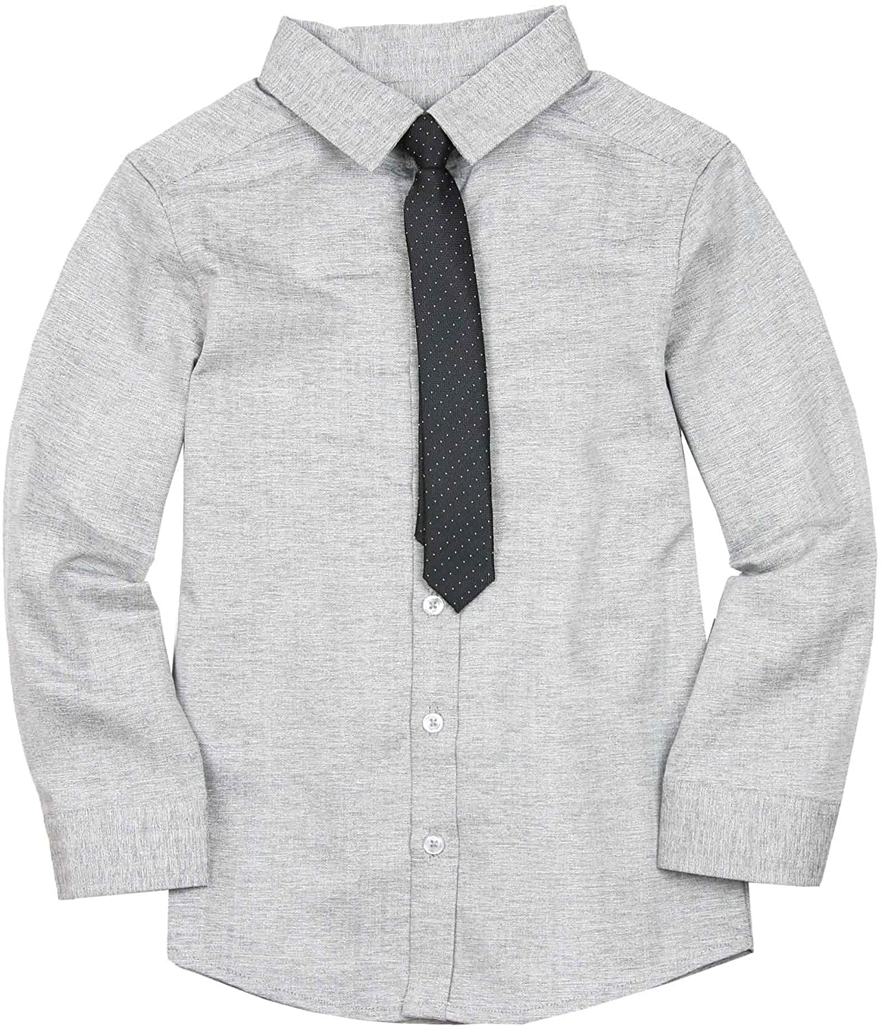 Deux par Deux Boys' Gray Shirt with Tie Maestro!, Sizes 18M-12