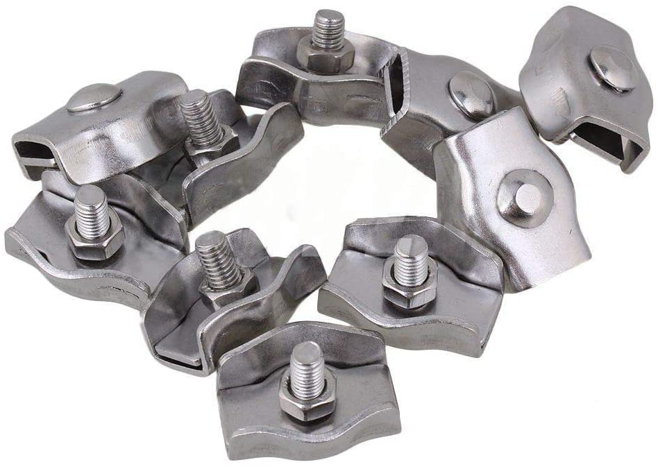 Ochoos 304 Stainless Steel Silver Wire Rope Cable Clip Simplex Clamp Single Post Style M5 Set Pack of 50