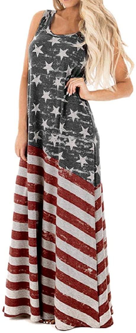 Women's Sleeveless Maxi Tank Dresses American Flag Print Summer Casual Long Dress July 4th Theme Parade Garments