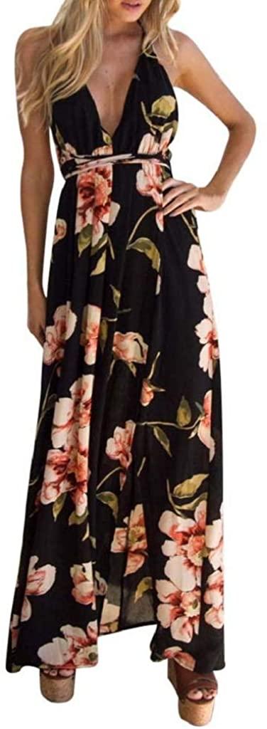 terbklf Women Summer Sexy Halter Boho Vintage Floral Printed Long Evening Party Dress Sundress Beach Dress for Women