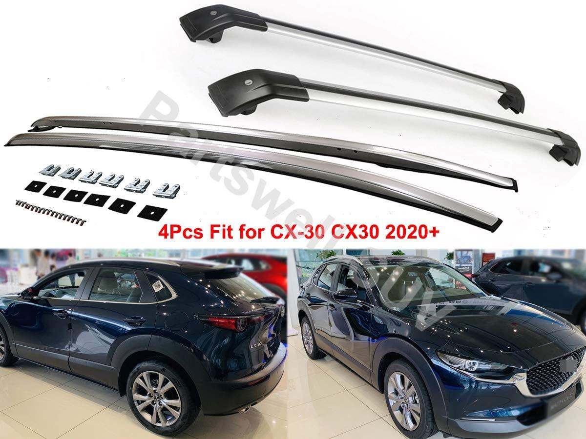 YiXi-Partswell 4Pcs Roof Rail Side Rail Roof Rack Lockable Cross Bars Crossbar Aluminum Fit for Mazda CX-30 2020 2021