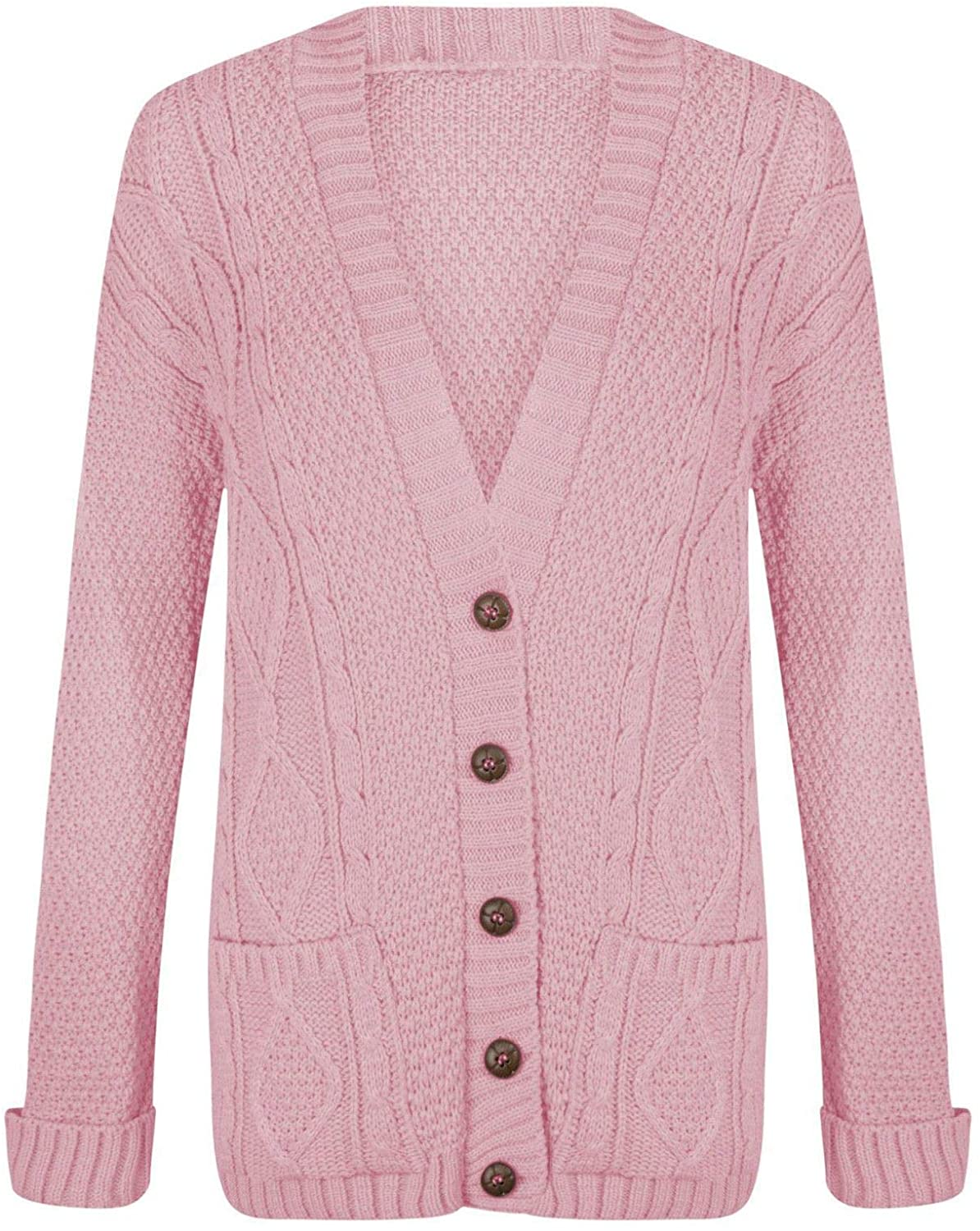Purple Hanger Women's Long Sleeve Cable Knit Knitted Boyfriend Cardigan 8-10 Baby Pink