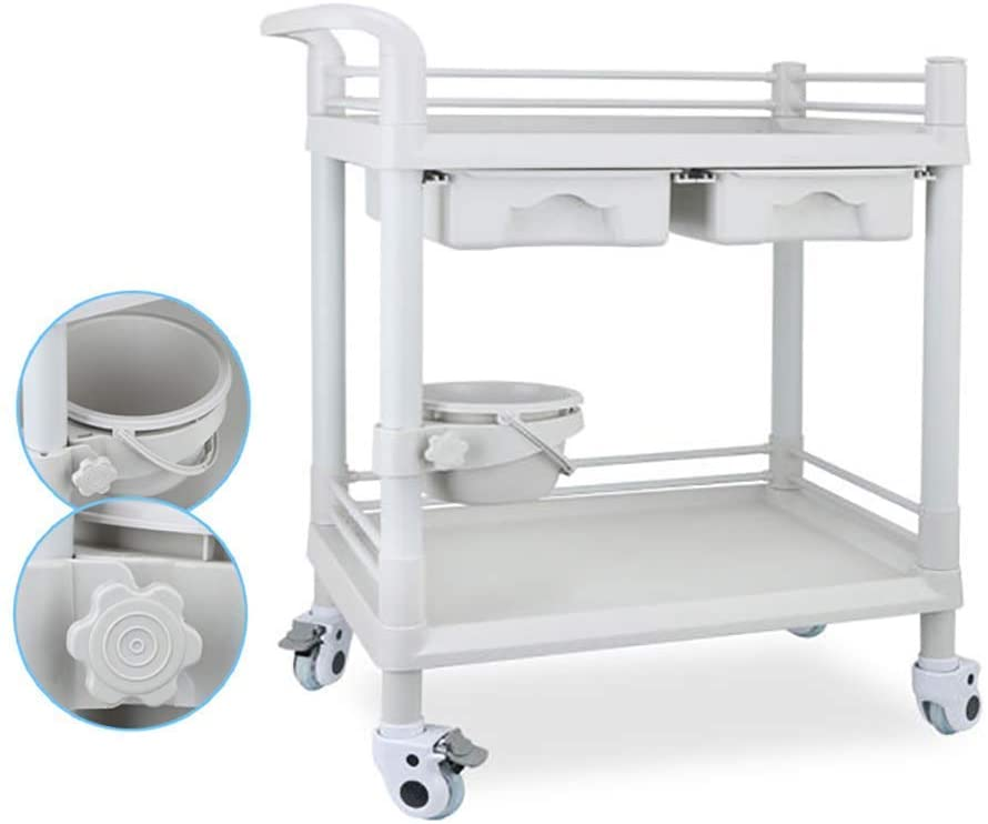 HTLLT Storage Rack Serving Cart Medical Cart Tool Mobile Beauty Salon Trolley Cart with Dirt Bucket, 2 Tier Abs Medical Tool with 2 Drawers, Hair Styling Spa Utility Cart,L76×53×90Cm