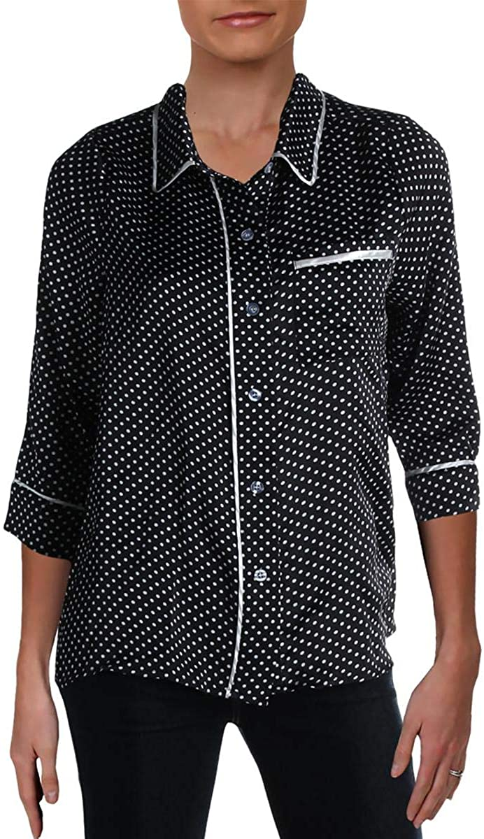 Lucca Womens Contrast Trim Polka Dot Button-Down Top
