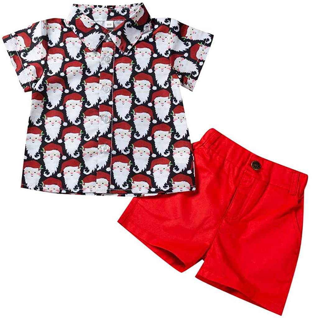 FORESTIME Toddler Baby Boy Birthday Outfit Short Sleeve Christmas Cartoon Print Shirt Tops Solid Short Pants Outfit