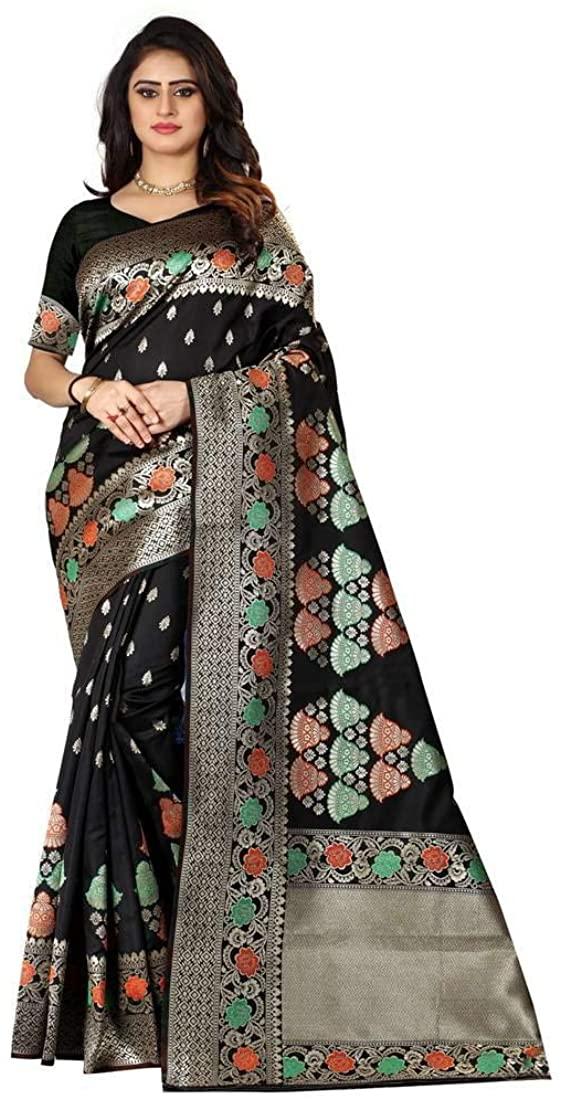 Women's Banarasi Black Woven Cotton Silk Saree with Blouse Indian Ethnic Dresses