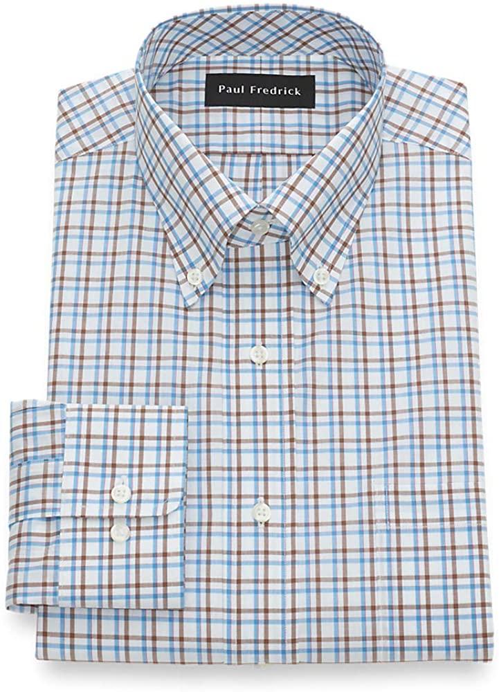 Paul Fredrick Men's Slim Fit Pure Cotton Tattersall Dress Shirt