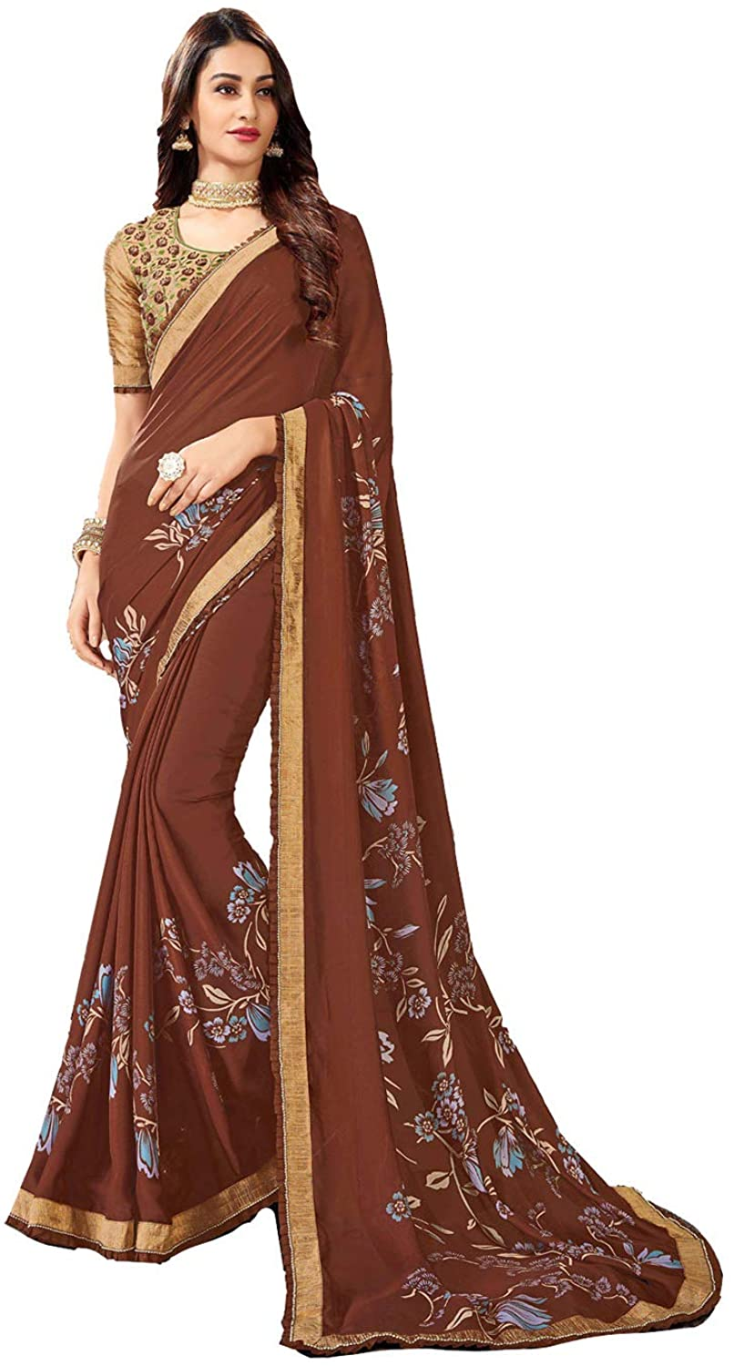 Saree for Women Bollywood Wedding Designer Brown Sari with Unstitched Blouse. ICW2535-6